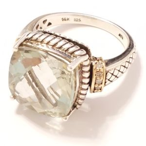 🔥SALE Sterling Silver 14k gld Green Amethyst Ring